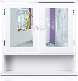 HOMFA Armario de Baño con espejo  Armario de Pared Armario de Cocina o Medicina Blanco 2 puertas y 3 Estanterías MDF 56x13x58cm