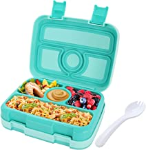 Kids Lunch Box Bento Box for Kids, Nomeca BPA-Free Leak Proof 4-Compartment Lunch Container with Spork, Microwave Safe Por...