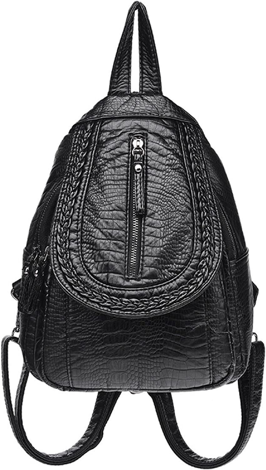 Ladies Shoulder Bag Crocodile Pattern Girls Backpack Weave Women Simple Students College Wind Europe And The United States School Bags