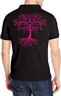 Breast Cancer Awareness Tree Roots Men's Short Sleeve Polo T-Shirt Tees Top Back for Gym Blouse Tops