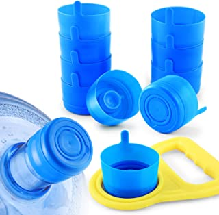 JVIGUE Non Spill Cap Anti Splash Bottle Caps Reusable for 55mm 3 and 5 Gallon Water Jugs with Water Bottle Handle Pack of 10