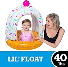 BigMouth Inc Lil' Cute Float with Canopy - Ultra-Durable Dual-Chamber 3-Point Harness w/ Child Safety Valves & UPF 50+ Protection Baby Pool Float (Ice Cream Cone)