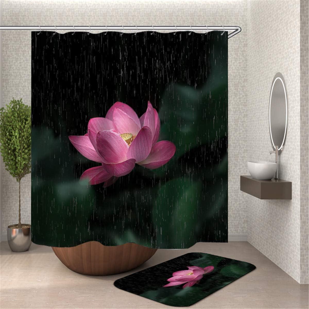 90x180cm,Cactus Chickwin Flor Animales Impermeable Cortina de Ducha Antimoho Antibacteriano 3D Impresi/ón Dise/ño Cortina de Ba/ño//Ducha//Ba/ñera 100/% Poli/éster con 12 Anillos