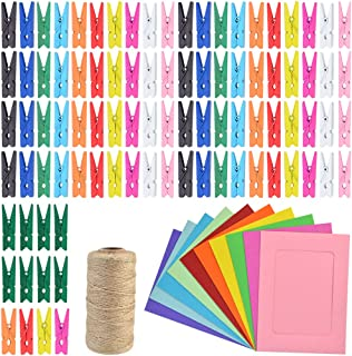 Yookat 328 Feet Jute Twine 100 Pieces Mini Colored Natural Wooden Clips Clothespins Pegs Clips with 20 Pieces Colored Picture Photo Frame for Home Arts Crafts Decoration