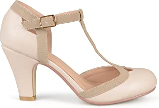 Womens Regular and Wide Width T-Strap Two-Tone Matte Mary Jane Pump