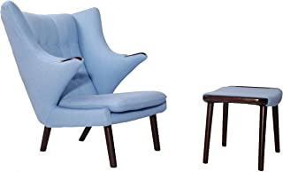 MLF Papa Bear Wing Chair & Ottoman(Multi Colors Available), Baby Blue Cashmere Wool/Walnut Legs