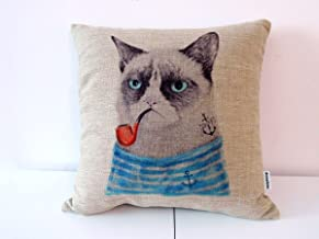 Decorbox Cotton Linen Square Throw Pillow Case Decorative Cushion Cover Pillowcase for Sofa Cat with Pipe 18 X18