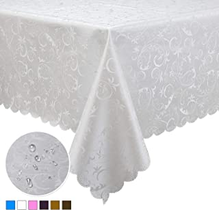 Locika Rectangle Washable Vinyl Tablecloth Heavy Duty Waterproof Spillproof Tablecloth for Indoor Outdoor Use (White, 60