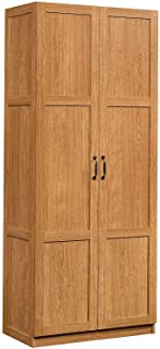 "Sauder 419188 Storage Cabinet, L: 29.61"" x W: 16.10"" x H: 71.10"", Highland Oak finish"