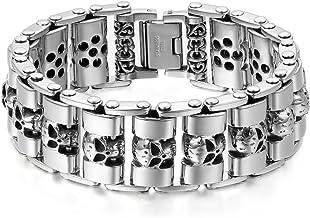 BOBIJOO Jewelry Bracelet Cha/îne Moto Homme Argent Gourmette Acier Inoxydable Silicone Noir Biker