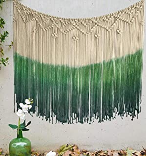 Flber Dip-Dyed Macrame Woven Wall Art Curtain Home Décor,47