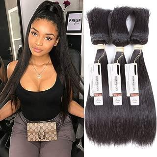 FASHION QUEEN HAIR Braid in Bundles 100% 3 Bundles Natural Human Hair Extensions Brazilian Virgin Hair Silky Straight No Glue No Thread Weave for Black Women (16 16 16 Inch)