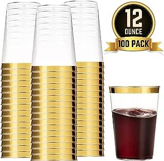 100 vasos de plástico dorado, 12 onzas, vasos de plástico transparente con borde dorado, vasos desechables para bodas, elegantes vasos de fiesta con borde dorado