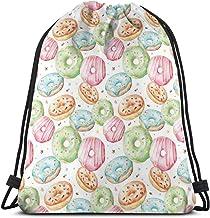 Drawstring Gym Bags Opbergtas, schattig delicious donuts patroon met verschillende flessen sprinkles Stars Background, zee...