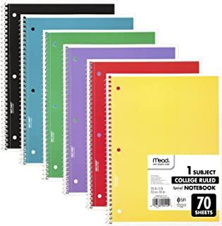 """نوت بوک های میاد مارپیچ ، 1 موضوع ، کاغذ تصمیم گرفته شده کالج ، 70 برگه ، 10-1 / 2 """"x 7-1 / 2"""" ، رنگهای متنوع ، 6 بسته (73065)"""