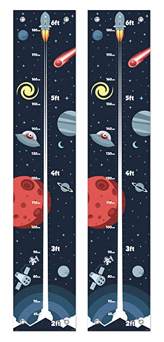 Planets Rockets Space Colouring In Personalised Growth Measuring Height Chart