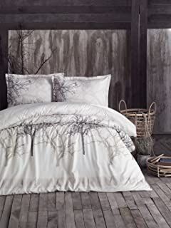 Duvet Quilt Cover Set Double Queen Size Bed Conforter/Quilt Cover Set - 100% Cotton - Multi Colour Printed 4 Pieces with Fitted Sheet (Tree Beige, Queen)