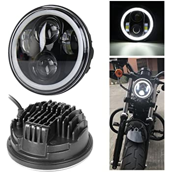 """7/"""" Zoll Halo LED Scheinwerfer schwarz E9 LED Standlichtring rund for R nine t"""