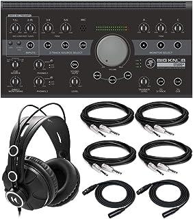 Mackie Big Knob Studio+ 4x3 Studio Monitor Controller 192kHz USB I/O Interface Bundle with Knox Gear Closed-Back Studio Mo...