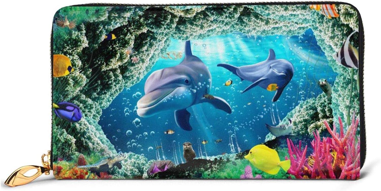 Ocean Underwater Dolphin discount Fish Leather Long Arou Zip Max 85% OFF Wallet Women