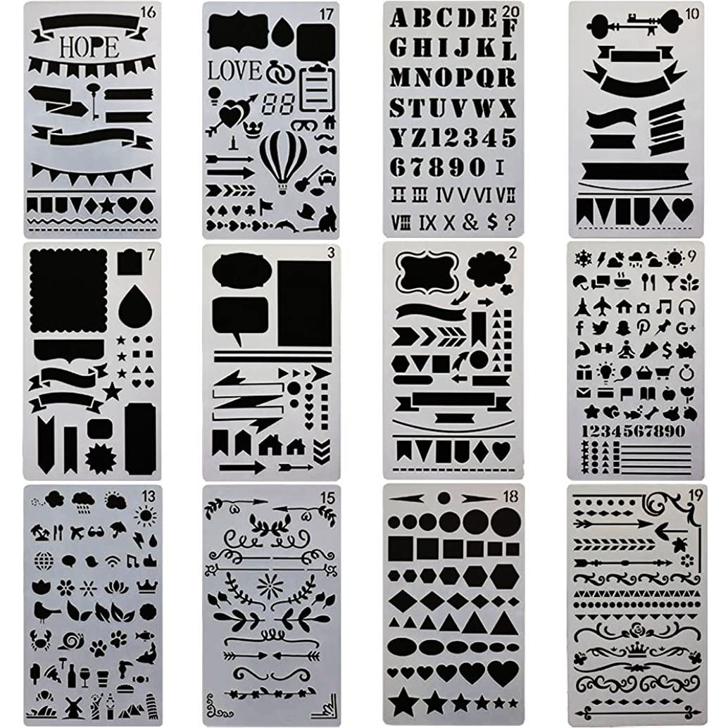 MAMUNU 12 Pcs Journal Stencil Plastic Planner Set for Notebook/Diary/Scrapbook DIY Drawing Template