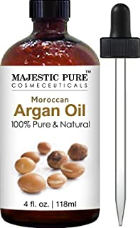 Majestic Pure Moroccan Argan Oil for Hair, Face, Nails, Beard & Cuticles - for Men and Women - 100% Natural & Organic, 4 fl. oz.