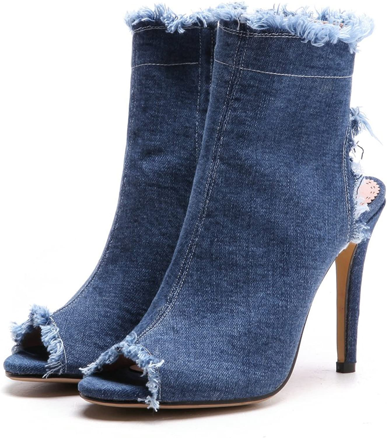 An Meng Xin Ling Fashion Sandals Boots Denim High Heel bluee Peep Toe Ankle Boots Sexy Dress Stilettos Spring Summer shoes Plus Size
