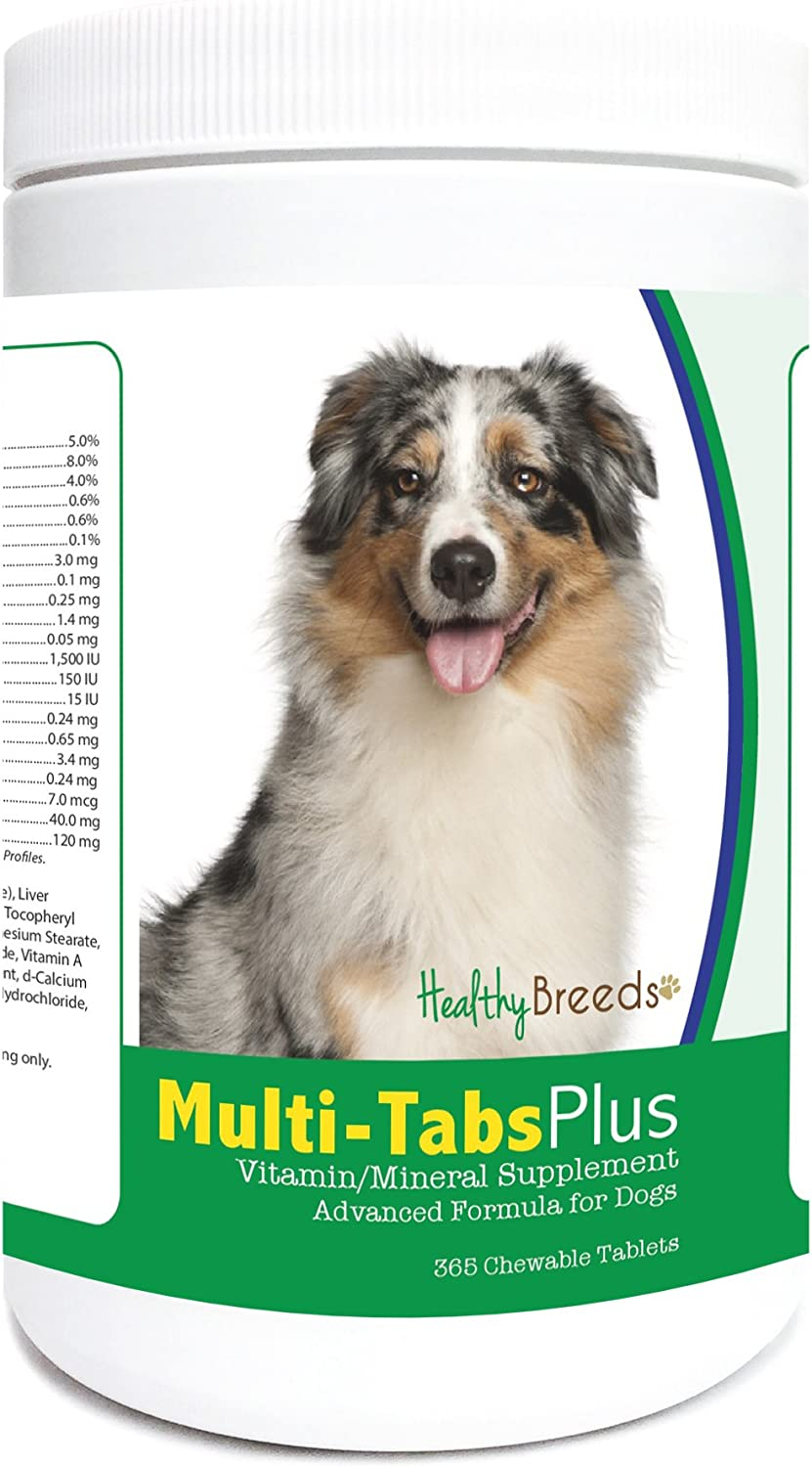 Healthy Breeds Dog MultiTab and Mineral Supplement Chewable Tabs for Australian Shepherd  OVER 200 BREEDS  Liver Flavor  For Small Medium & Large Breeds  365 Tabs