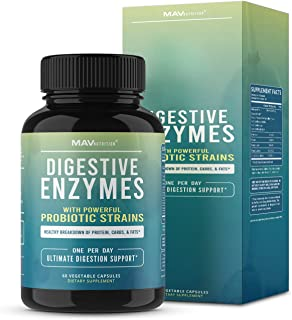 MAV Nutrition Digestive Enzymes & Probiotics, Digestion Aid with 3 Strains | Premium Enzyme Blend | Shelf Stable, 2 Month ...