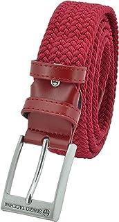 Sergio Tacchini Cintura Elastica Intrecciata, Uomo Donna, Con Inserti in Vera Pelle, Scatola Regalo Rosso 125