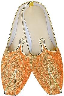 INMONARCH Mens Orange Brocade Wedding Shoes MJ016057