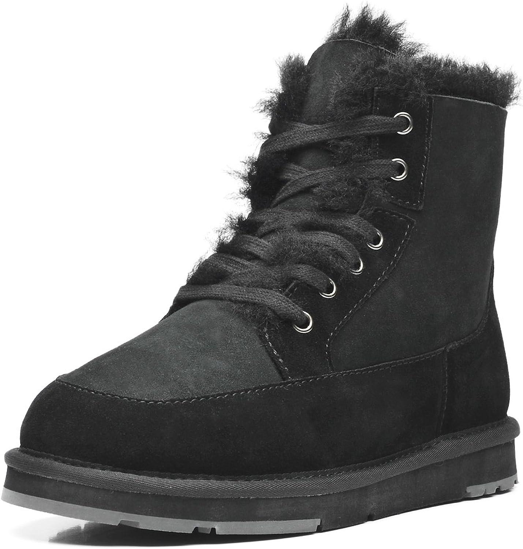 AU&MU Aumu Unisex Lace Up Short Sheepskin Winter Boots Snow Boots