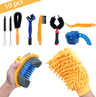10 Pcs Precision Bicycle Cleaning Brush Tool Suitable for MTB, Road, City, Hybrid,BMX and Folding Bike Including Bike Chain Scrubber and 2 Tire Brushes