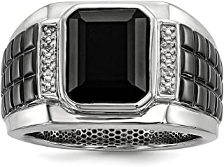 14K White Gold Over Black Square Onyx and Round Diamond Men's Ring Ideal Gifts for Women