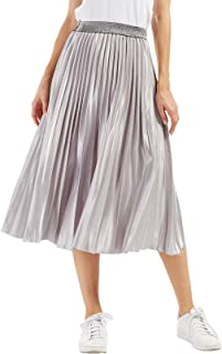 CHARTOU Womens Elastic-Waist Accordion Pleated Metallic Long Party Skirt