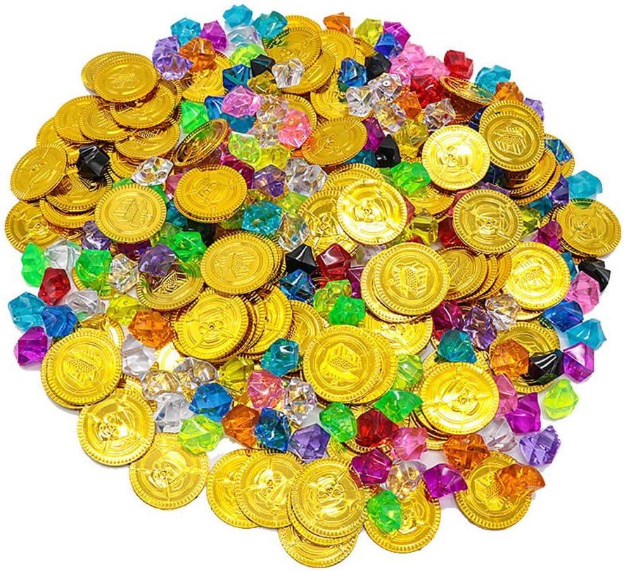Monedas Oro Juguete, ZoneYan 100 Monedas de Oro Pirata, 100 Gemas de Colores Piratas, Monedas de Oro y Gemas Piratas del Tesoro Pirata, Perfecto para Niños Búsqueda del Tesoro y Regalos de Fiesta