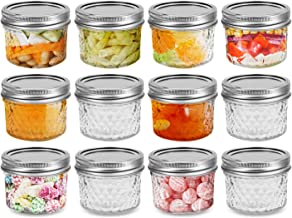 FRUITEAM 4 oz 12 PACK Mini Mason Jars with Lids and Bands, Quilted Crystal Jars Ideal for Food Storage, Jam, Body Butters,...