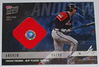 2018 Freddie Freeman Topps Now Game Used Brave Players Weekend Jersey Relic Card - Baseball Game Used Cards
