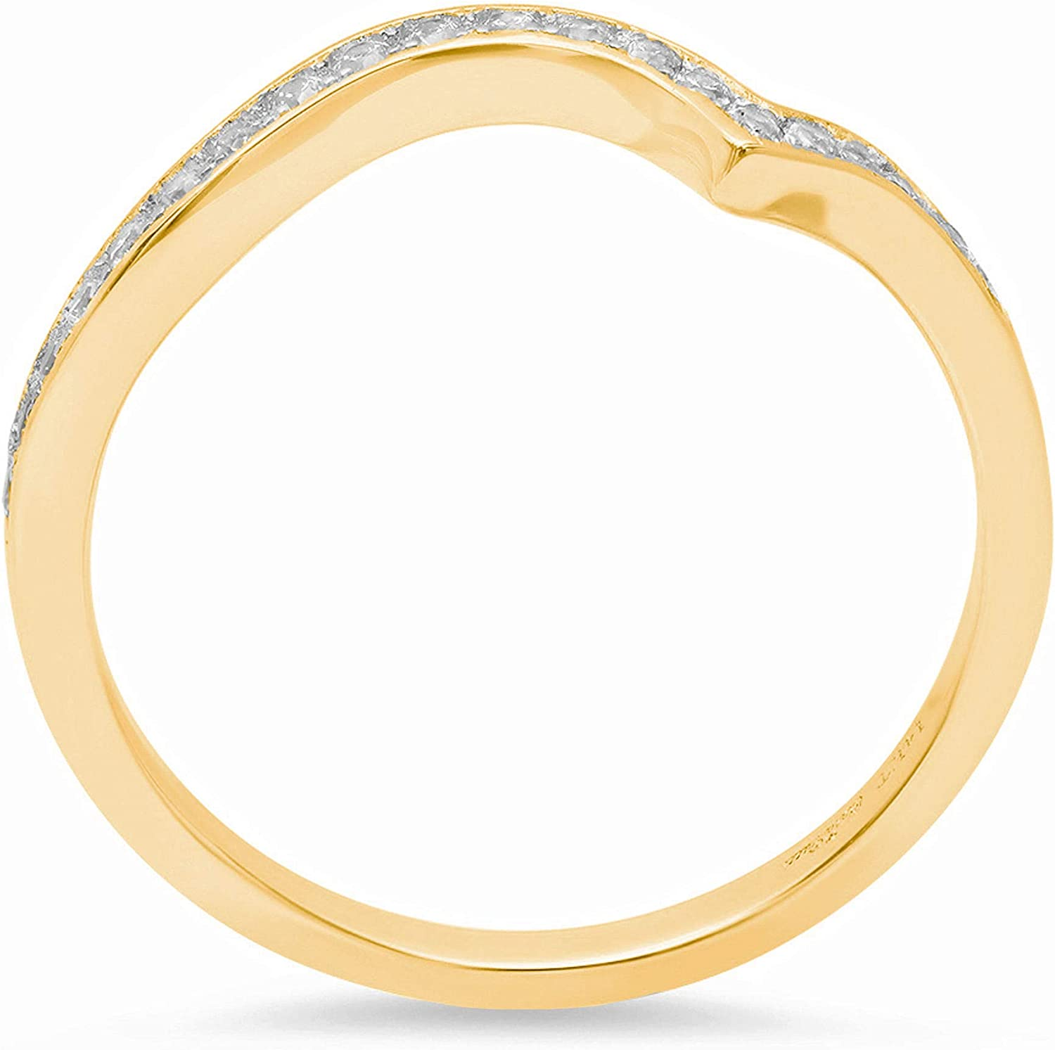 0.21ct Round Brilliant Cut Classic Designer Petite Skinny Infinity Statement Solitaire Stackable Bridal Curved Promise Engagement Wedding Anniversary Chevron V Ring Band Solid 14k Yellow Gold