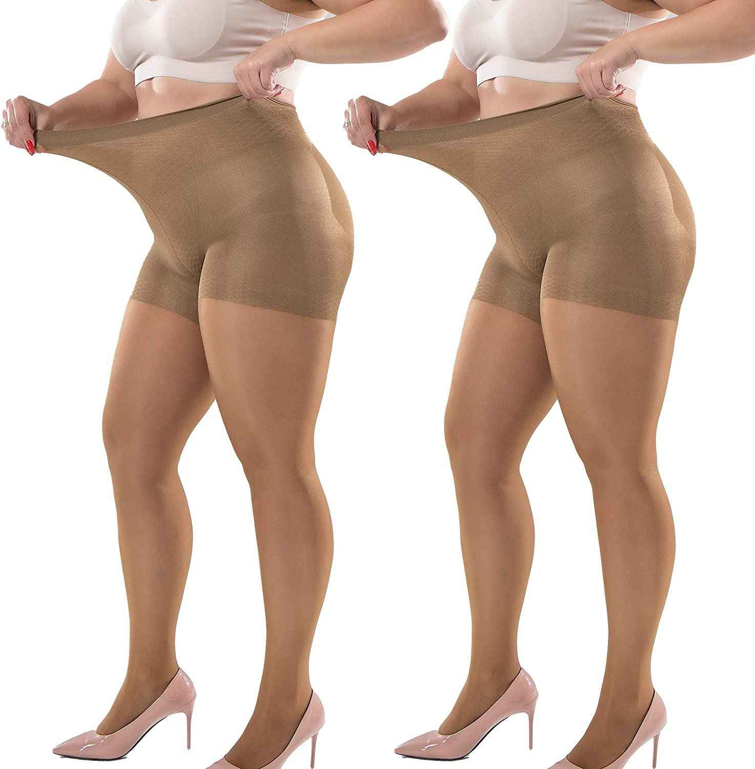 Plus Size Tights 2 PAIRS 40D Pantyhose For Lady Super Elastic