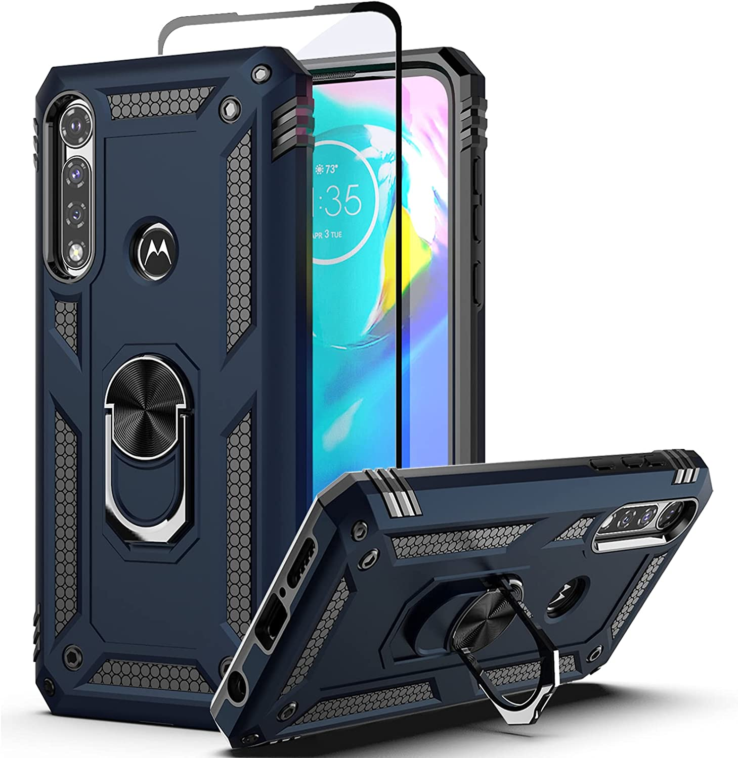 Dretal Moto G Power Case with Tempered Glass Screen Protector, Military Grade Shockproof Protective Case Cover with Rotating Holder Kickstand for Motorola Moto G Power 2020 (JS-Navy)