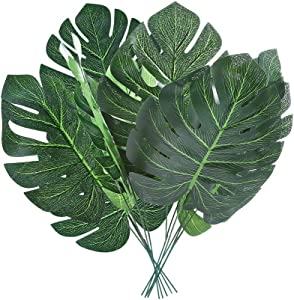 "Auihiay 24 Pieces 5.5"" x 11.8"" Tropical Palm Leaves with Stems Artificial Plant Faux Monstera Leaves for Hawaiian Luau Party Jungle Beach Theme Decorations"