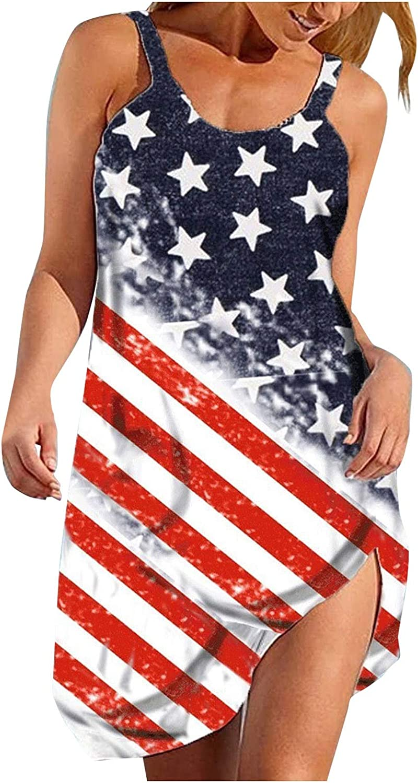 Oiumov Summer Dresses for Women Beach American Flag Patriotic Dress Floral Sundress Sleeveless Casual Boho Tank Dress