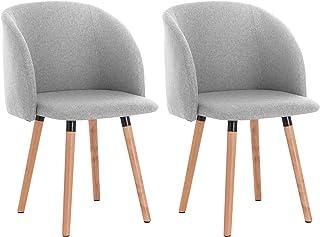 WOLTU 2X Sillas de Comedor Nordicas Estilo Vintage Dining Chairs Juego de 2 Sillas de Cocina Tulip Sillas Tapizadas en Lino Silla de Conferencia Silla de Escritorio Gris Claro BH120hgr-2