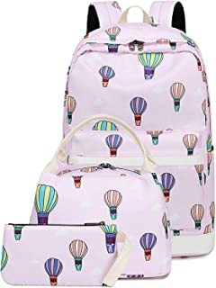 School Backpack Girls Bookbag Set Laoptop Backpack Lunch Box and Pencil Pouch (E0027-Pink)