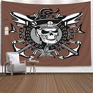 Musesh Huge Tapestry,Tapestry Wall Hanging,Rap Tapestry Wall Hanging Skull Captain Vintage Style Sailor Tattoo with Dead 80X60 Inches Size,Orange Green
