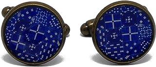 2 Gemelli da polso costume resina Lisboa Azulejos resina Portogallo blu bianco ottone 14mm regali personalizzati Natale am...
