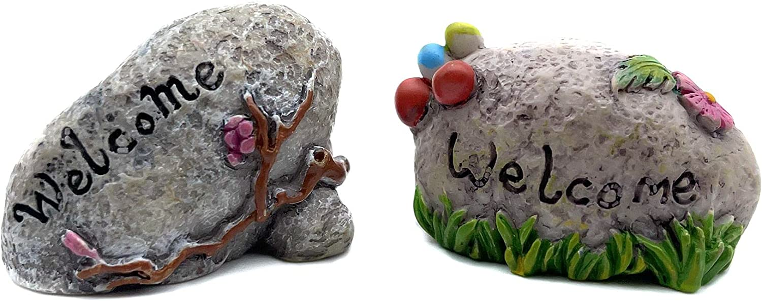 COUOC Miniature Welcome Landmark Stone Indicator ,Dollhouse Accessories Rockery and Fake Stone Landscaping Ornaments Fairy Garden Decor Accessory Succulent Flower Pot Decoration Outdoor Statues