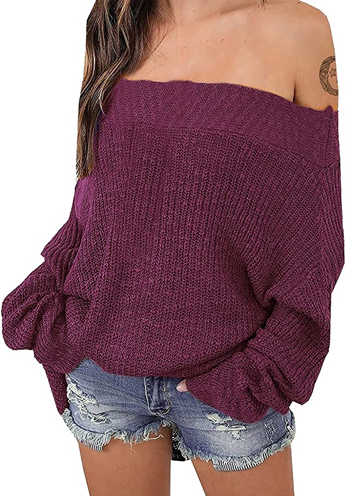 EXLURA Women's Off Shoulder Sweater Batwing Sleeve Loose Oversized Pullover Knit Jumper