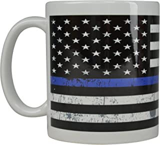 Best Blue Coffee Mug Blue Lives Matter Flag Thin Blue Line Novelty Cup Great Gift Idea For Police Officer Law Enforcement PD Large Flag